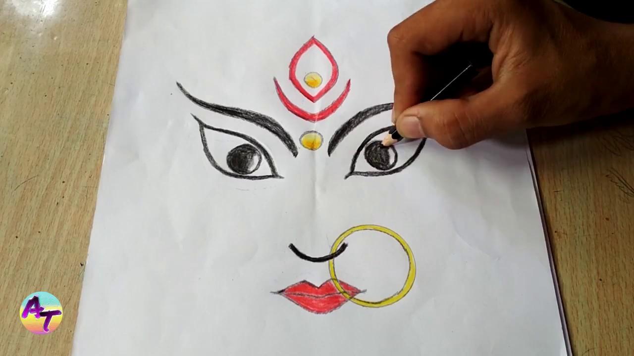 Art Drawing Durga Maa Face