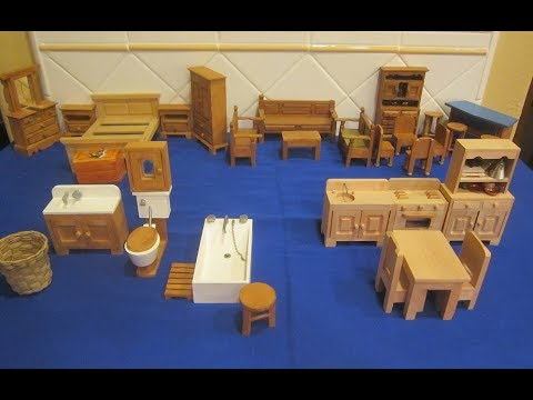 Unfinished, rustic mini wooden furniture