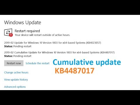 Cumulative Update for Windows 10 version 1803 for x64 based systems  KB4487017