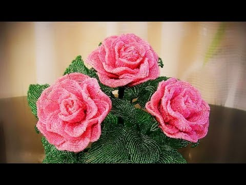 роза из бисера выкладная