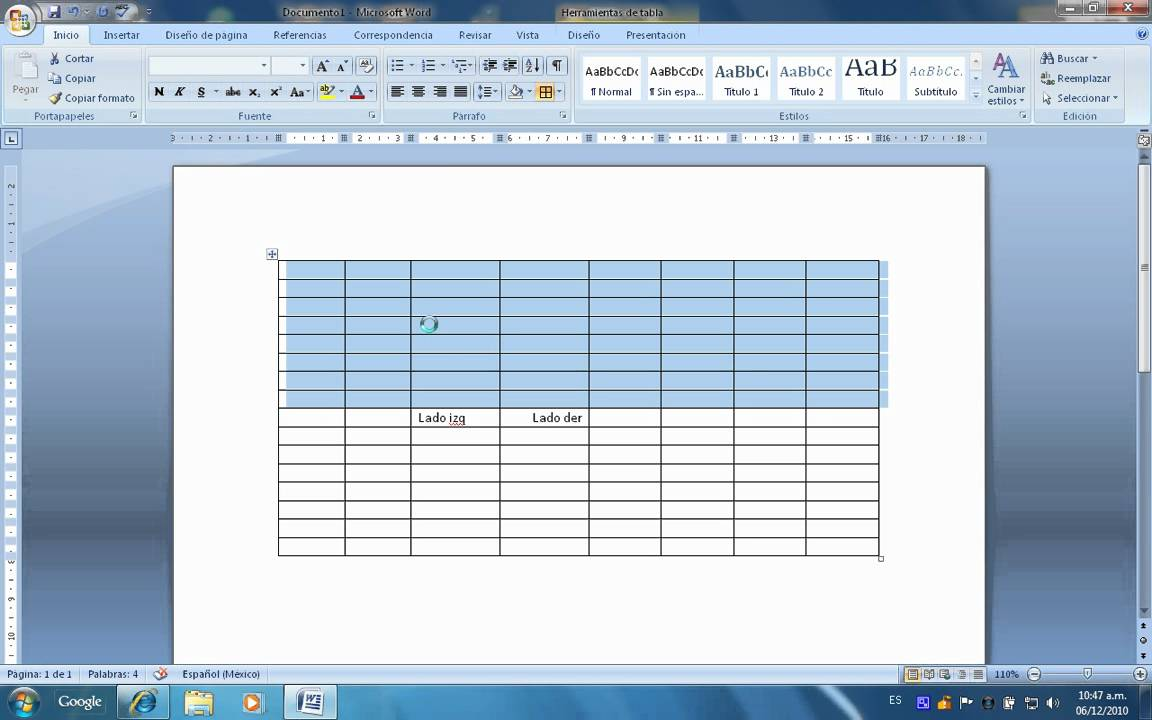 Crear Tablas en Microsoft Word 2007 para un mejor diseño