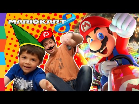 Ben and Daddy Game Night! Let's Play Mario Kart 8 Deluxe with ToyRap Father Son Family Fun