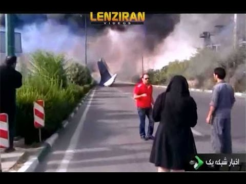 Scene of plane crash in Tehran by midday news bulletin of Iranian TV