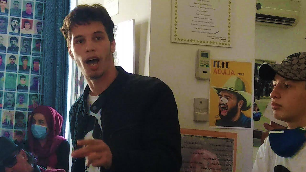 Intervention de l'étudiant AbdeNour lors de la conférence de presse en solidarité à Mohamed tadjadit