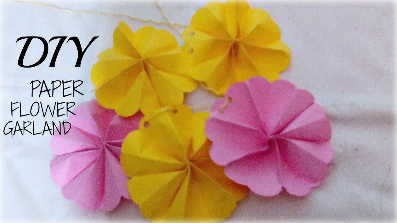 DIY How To Make Paper Flower Garland Tutorial Wall Hanging Room Decor Easy Craft