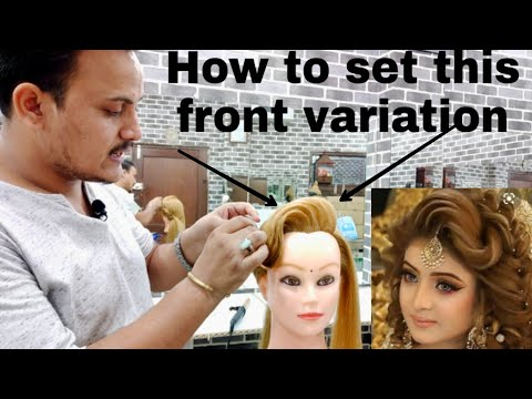 How to do front setting in hairstyling/ how to set front hairstyle/front variation setting