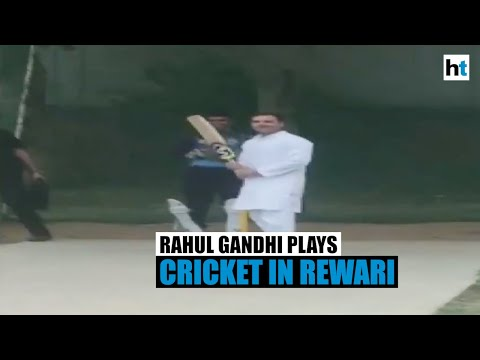 Watch: Rahul Gandhi playing cricket with locals in Rewari