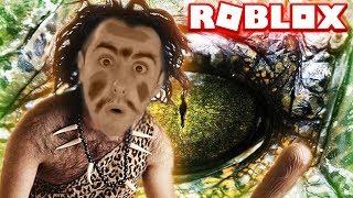 ROBLOX CAVEMAN BATTLE DINOSAUR!! ( Lets Play Showcase Gameplay Kid Friendly)