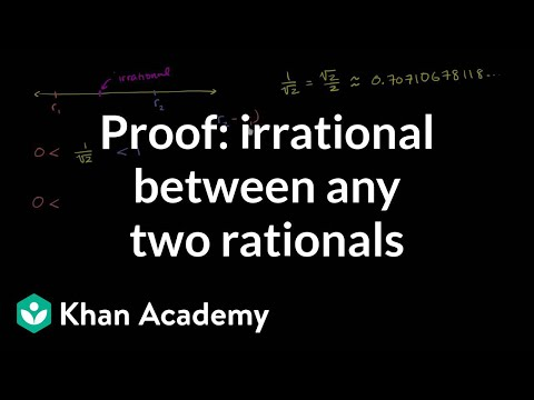 Proof that there is an irrational number between any two rational numbers | Algebra I | Khan Academy