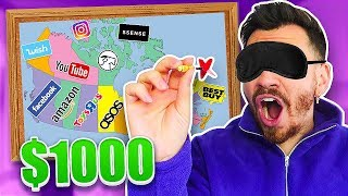 Throwing a Dart at a Map and BUYING Whatever it Lands on! ($1,000 CHALLENGE WISH, ASOS, AMAZON ETC.)