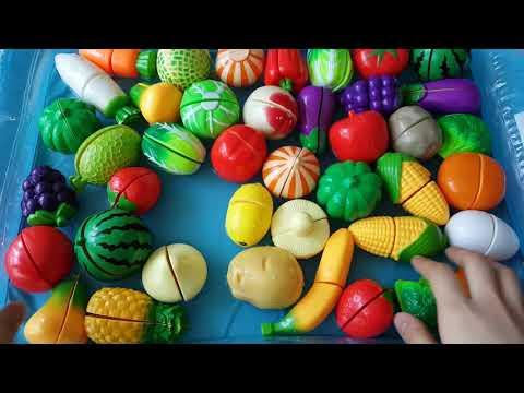 과일 채소들을 물에 넣으며 재미있게 모양, 색깔과 이름을 배워요! 바나나, 수박, 레몬, 복숭아, 포도, 감, 배, 메론, 딸기, 가지ㅣ잼잼토이