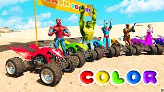 FUN LEARN COLORS ATV w/ SUPERHEROES for and  Children Nursery Rhymes songs for Babies
