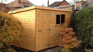 10 X 8 Pent Roof Garden Workshop Door Left Front
