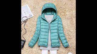 2021 зимний теплый пуховик женский тонкий с капюшоном ультра светильник пуховик на белом