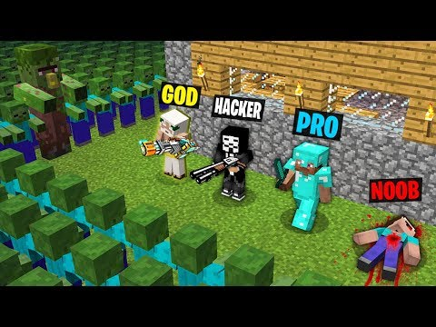 Minecraft Battle: NOOB Vs PRO Vs HACKER Vs GOD : ZOMBIE APOCALYPSE 2 Challenge In Minecraft