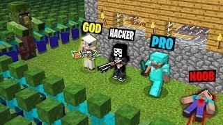 Minecraft Minecraft Savaş: ÇAYLAK PRO HACKER vs vs vs TANRI : ZOMBİ KIYAMETİ 2 Challenge