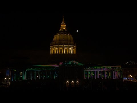 SF City Hall 100 LED Light Show - time lapse interval record