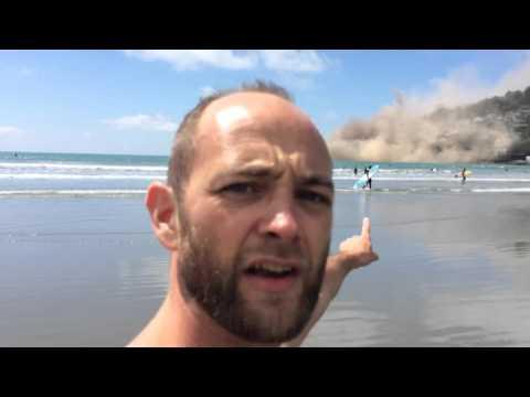 HUGE ROCK SLIDE - EARTH QUAKE HITS SUMNER BEACH