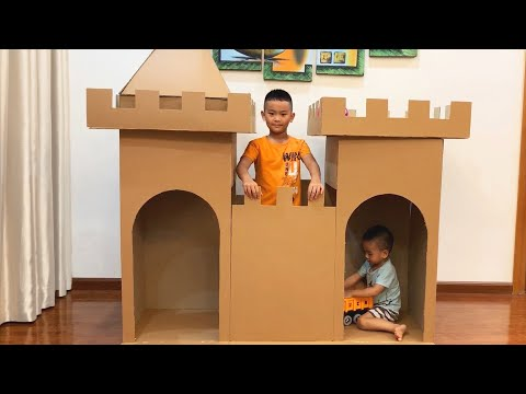 DIY | How to make a Cardboard Castle | Cardboard House with Nursery Rhymes  Baby Songs