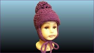 Шапка с ушками. Детская шапка спицами. Вязание шапки спицами. Ч. 1 (Cap with ears. P. 1)