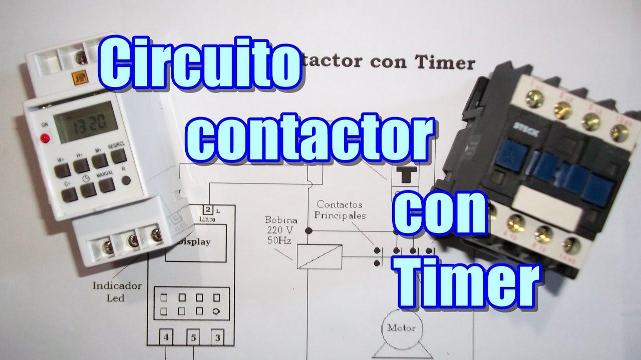 Circuito de contactor con Timer ddigital - YouTube