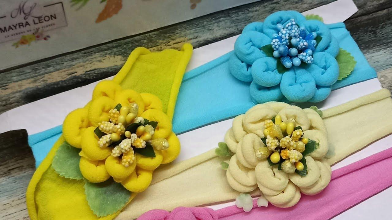 como hacer tiaras con florecitas de tubo de media  paso a pasó  @mayra León