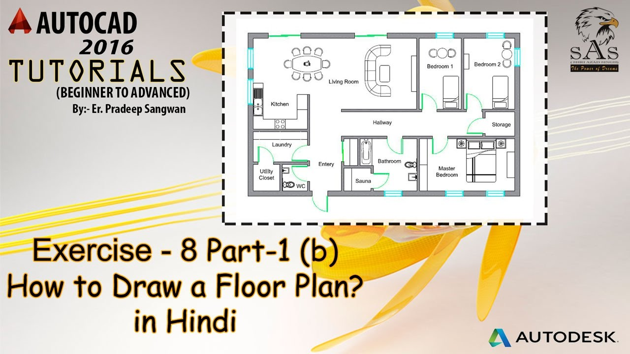 How To Draw Floor Plan In Autocad 2D? Part 1 (B) | Creating Doors U0026 Windows    YouTube