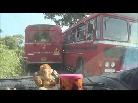 small road, large public bus, clever driver sri lanka Mullaitivu