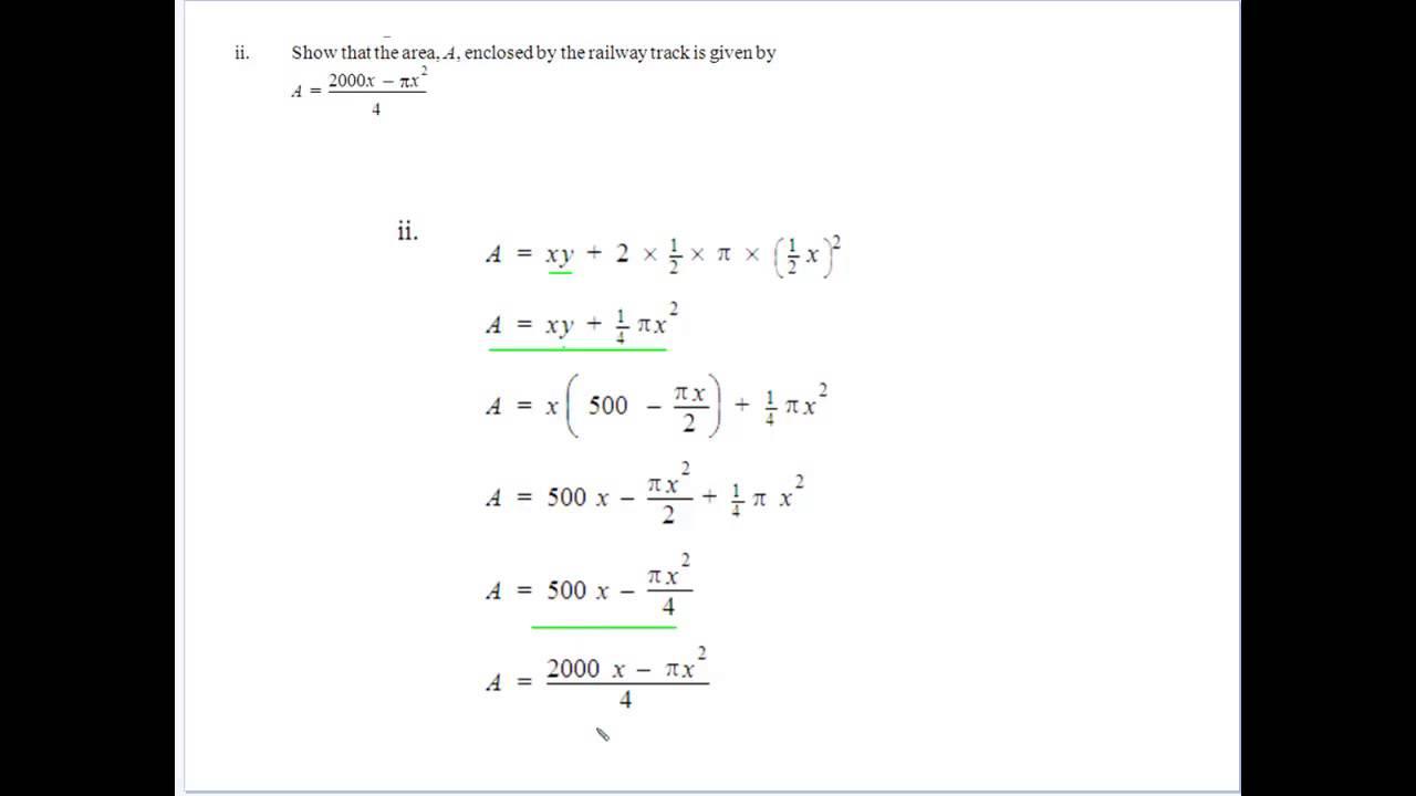 Geometrical Applications of Calculus Maxima Minima 4 - YouTube