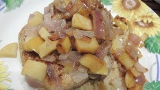 Pan Fried Pork Chop With Onion, Apple, And Coconut Oil