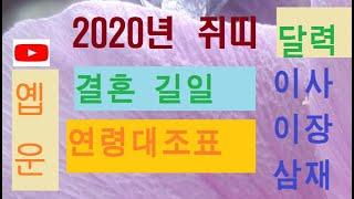 옙운 2020년 달력 결혼 이사 이장 삼재 연령대조표