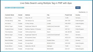 Live Data Search with Multiple Value in PHP using Ajax