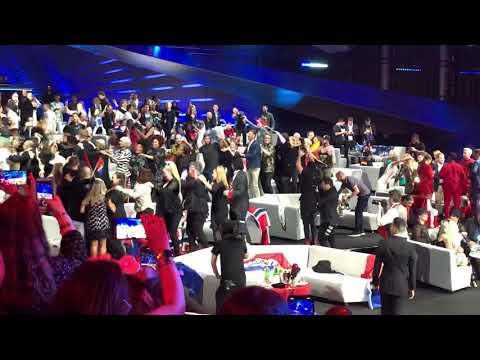 Eurovision 2019: contestants in the Green Room do the conga to Spain's Mikki!