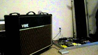 new vox ac 30 and my pedal board by chris schrom