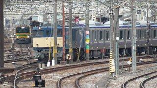 2021年3月16日 電気機関車EF64 1032 牽引 配給列車 横須賀線・総武快速線用 E235系1000番台 J-08編成(付属編成)、GV-E197系 TS01編成 試運転  JR高崎駅