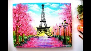 Springtime Cherry blossom Trees and Eiffel Tower Painting Step by Step Tutorial for Begin ...