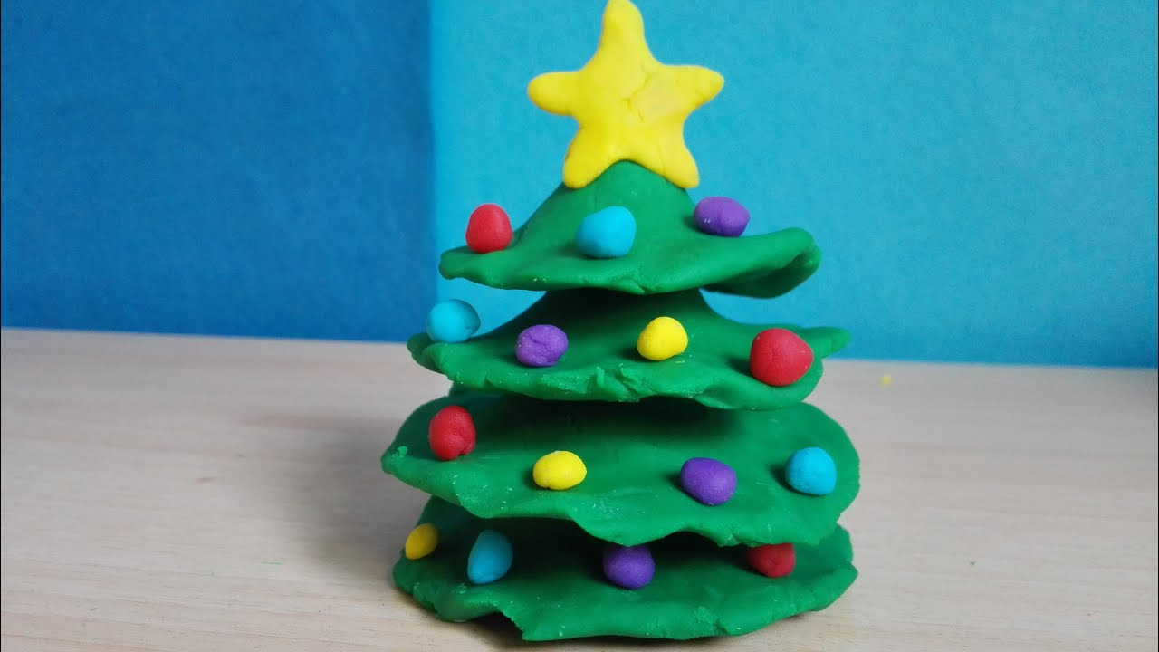 super easy christmas tree play doh how to make hacer un arbol de navidad de plastilina facil