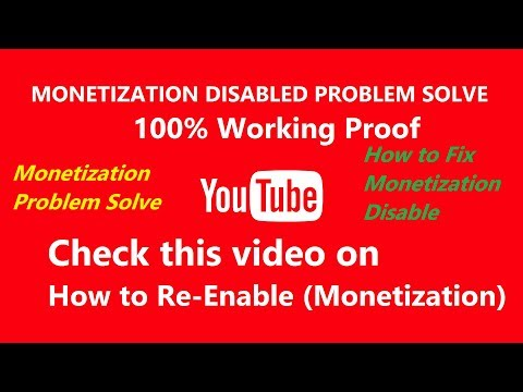 How to Enable/Re-Enable Youtube Monetization[Fix Disable Problem solve] ...