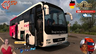 """Euro Truck Simulator 2 (1.38)  MAN Lion's Coach [1.38] Munich Germany Promods map v2.50 Animated gates in companies v3.7 [Schumi] Real Company Logo v1.0 [Schumi] Company addon v1.8 [Schumi] Trailers and Cargo Pack by Jazzycat Motorcycle Traffic Pack by Jazzycat FMOD ON and Open Windows Naturalux Graphics and Weather Spring Graphics/Weather v3.6 (1.38) by Grimes Test Gameplay ITA Europe Reskin v1.0 + DLC's & Mods  For Donation and Support my Channel https://paypal.me/isabellavanelli?loc... #JoeBidenforPresident  SCS Software News Iberian Peninsula Spain and Portugal Map DLC Planner...2020 https://www.youtube.com/watch?v=NtKeP... Euro Truck Simulator 2 Iveco S-Way 2020 https://www.youtube.com/watch?v=980Xd... Euro Truck Simulator 2 MAN TGX 2020 v0.5 by HBB Store https://www.youtube.com/watch?v=HTd79...  #TruckAtHome #covid19italia Euro Truck Simulator 2    Road to the Black Sea (DLC)    Beyond the Baltic Sea (DLC)   Vive la France (DLC)    Scandinavia (DLC)    Bella Italia (DLC)   Special Transport (DLC)   Cargo Bundle (DLC)   Vive la France (DLC)    Bella Italia (DLC)    Baltic Sea (DLC) Iberia (DLC)   American Truck Simulator New Mexico (DLC) Oregon (DLC) Washington (DLC) Utah (DLC) Idaho (DLC) Colorado (DLC)     I love you my friends Sexy truck driver test and gameplay ITA  Support me please thanks Support me economically at the mail vanelli.isabella@gmail.com  Roadhunter Trailers Heavy Cargo  http://roadhunter-z3d.de.tl/ SCS Software Merchandise E-Shop https://eshop.scssoft.com/  Euro Truck Simulator 2 http://store.steampowered.com/app/227... SCS software blog  http://blog.scssoft.com/  Specifiche hardware del mio PC: Intel I5 6600k 3,5ghz Dissipatore Cooler Master RR-TX3E  32GB DDR4 Memoria Kingston hyperX Fury MSI GeForce GTX 1660 ARMOR OC 6GB GDDR5 Asus Maximus VIII Ranger Gaming Cooler master Gx750 SanDisk SSD PLUS 240GB  HDD WD Blue 3.5"""" 64mb SATA III 1TB Corsair Mid Tower Atx Carbide Spec-03 Xbox 360 Controller Windows 10 pro 64bit"""