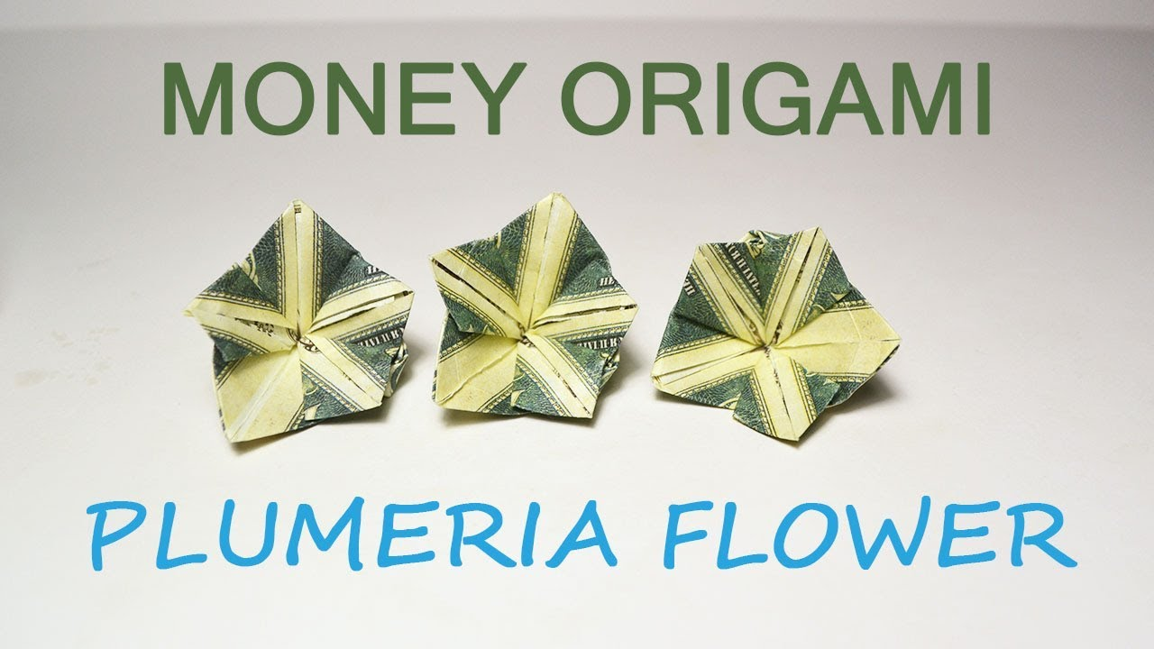 Money Plumeria Origami Flower Dollar Tutorial Diy Folded No Glue