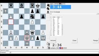 5 minute chess #579: IM Greg Shahade vs WIM Maja Velickovski-Nejkovic