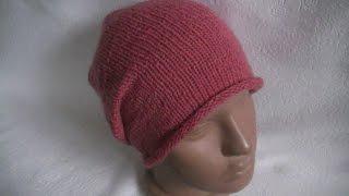 Вязание шапки- бини  на круговых  спицах.Knit beanies shapki- on circular needles.