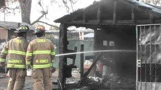 Vacant House / Garage Fire In Modesto, California - Modesto Regional Fire Authority Footage