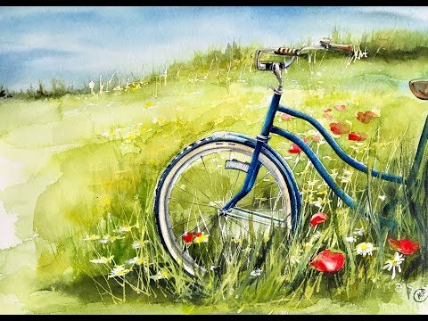 Bicycle in a Field Watercolor Painting Tutorial