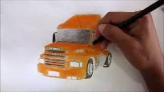 Caminhão Scania 113 - Desenho rápido - Desenhando um caminhão - Drawing