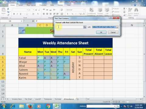 Attendance Sheet (Use of Conditional Formatting) in Microsoft #Excel ...