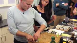 How to CHOP LIKE A CHEF, Tim Ferriss teaches Knife Skills, 4-Hour Chef - video by seth quest.mov
