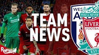 West brom v liverpool | team news live