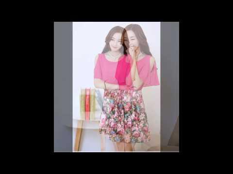 เสื้อผ้าแฟชั่นเกาหลี : ชุดเดรสสั้นเปิดไหล่ สีชมพู กระโปรงลายดอกไม้