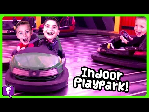 INDOOR PLAY Park Adventure Dome! Bumper Cars + Rides with HobbyKidsTV